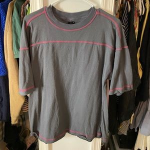 grey stitched  tee